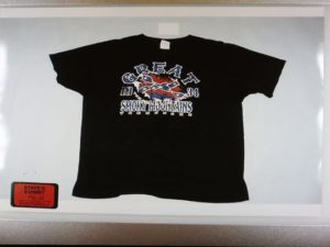 The t-shirt Ray Tensing was wearing at the time he fatally shot Sam DuBose, July 19, 2015 was submitted as evidence Friday during the murder trial of Tensing. (Photo: Cara Owsley)